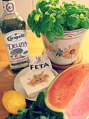 Melonen-Feta-Salat Zutaten