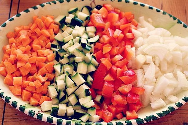 Chili con Carne, Gemüsewürfel